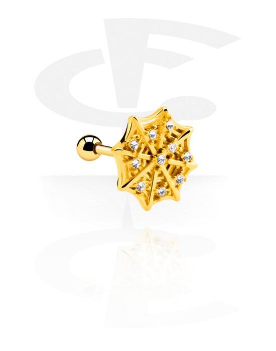 Helix / Tragus, Tragus piercing con ragnatela, Acciaio chirurgico 316L con placcatura in oro