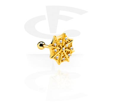 Helix / Tragus, Tragus Piercing with spiderweb attachment, Gold Plated Surgical Steel 316L