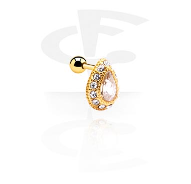 Helix / Tragus, Helix piercing, Gold Plated Surgical Steel 316L