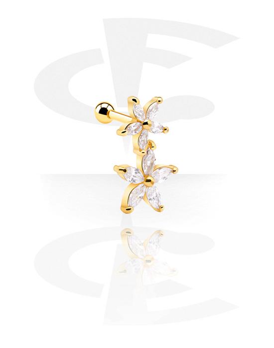 Helix / Tragus, Tragus Piercing s flower design, Pozlacená chirurgická ocel 316L
