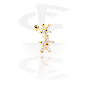 Helix / Tragus, Helix piercing with Flower Design, Gold Plated Surgical Steel 316L