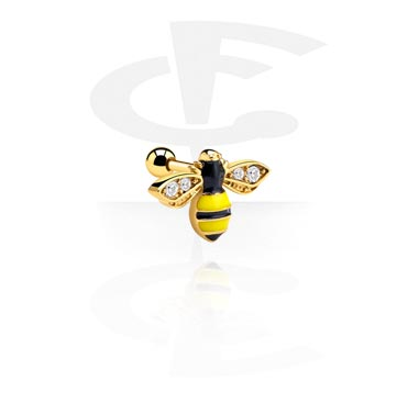 Helix / Tragus, Tragus Piercing with Bee Design, Gold Plated Surgical Steel 316L