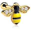 Helix / Tragus, Piercing tragus  avec Motif abeille, Acier chirugical 316L plaqué or