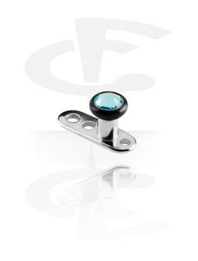 Titanium Dermal Anchor met Black Titanium Jeweled Flat Disk