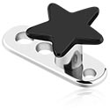 Dermal Anchor, Titanio Dermal Anchor con Black Titanio Star, Titanio