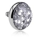 Balls & Replacement Ends, Glitter Disc for Internally Threaded Bars, Titanium