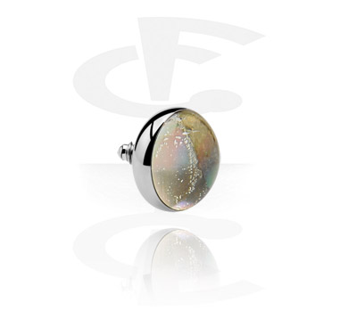 """Mother of Pearl"" Flat Disc per Internally Threaded Pin"