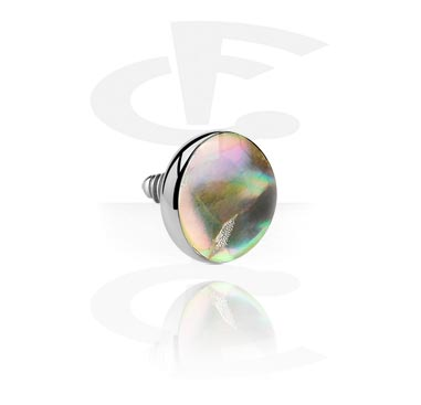 """Balls & Replacement Ends, """"Mother of Pearl"""" Flat Disc for Internally Threaded Pin, Titanium"""