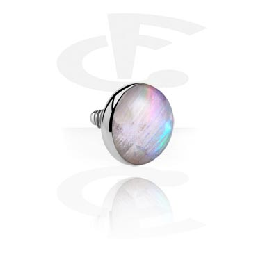 """Mother of Pearl"" Flat Disc for Internally Threaded Pin"