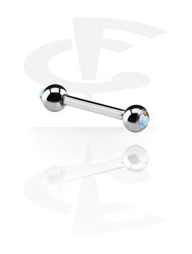Barbell avec boules ornées d'une pierre en cristal