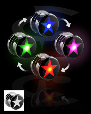 Tunely & plugy, LED Plug with Star Motive, Surgical Steel 316L