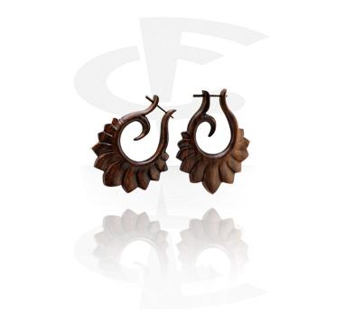 Tribal Wood oorbellen (Sold by pair)