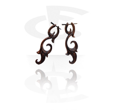 Tribal Wood Boucles d'oreilles (vendu par paire)
