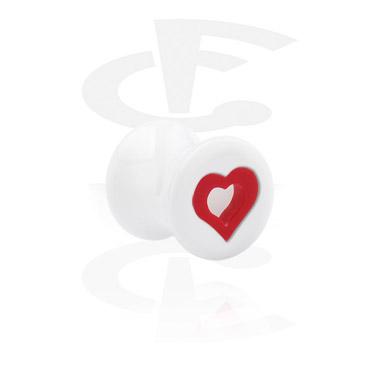 Tunele & plugi, Hearts Playing Card Flared Plug, Acrylic