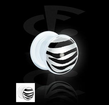 Tunnels & Plugs, LED plug avec imprimé de zèbre, Acrylique
