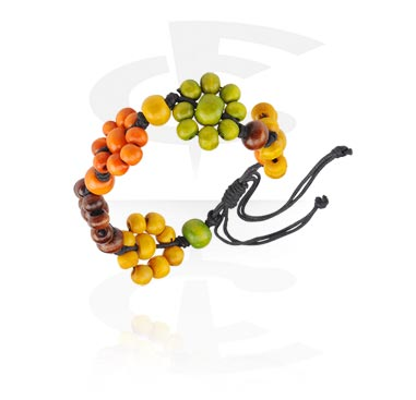 Náramky, Fashion Bracelet, Different types of Wood, Wax Cord