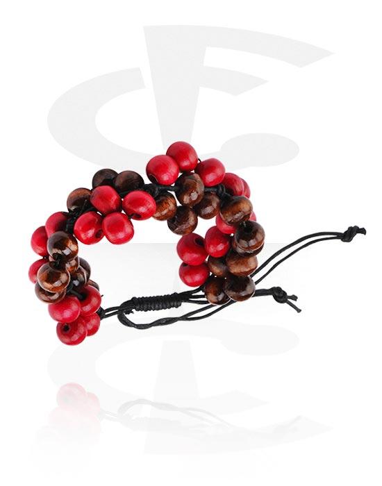 Armbänder, Modisches Armband, Verschiedene Holzarten, Wachskordel