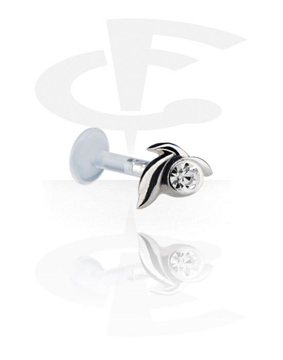 Labrety, Internal Labret with Jeweled Steel Cast Attachment, Bioflex