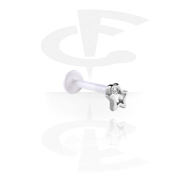 Labrets, Internal Labret with Jeweled Steel Cast Attachment, Bioflex