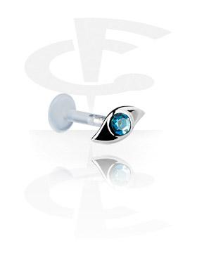 Labrets, Internal Labret met Jeweled Steel Cast Attachment, Bioflex