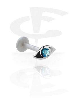 Labretit, Internal Labret with Jeweled Steel Cast Attachment, Bioflex