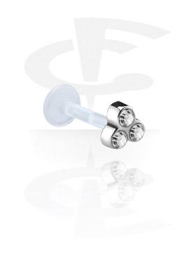 Labrets, Internal Labret avec Jeweled Steel Cast Attachment, Bioflex