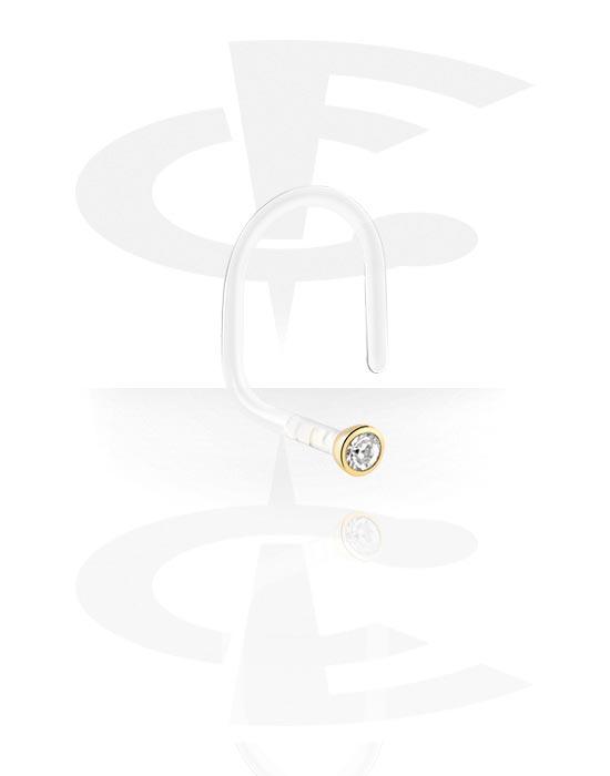 Nosovky a kroužky do nosu, Jeweled Nose Stud, Bioflex, Gold