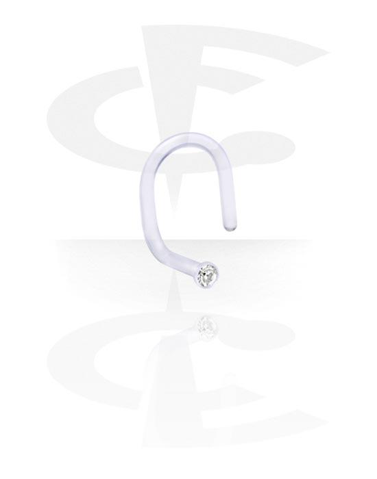 Nosovky a kroužky do nosu, Internal Curved Nose Stud with Jeweled Disk, Bioflex