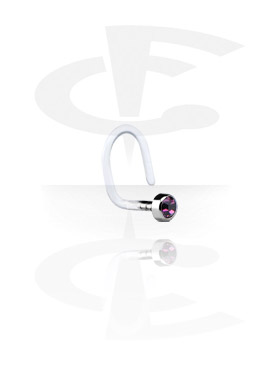 Nose Jewelry & Septums, Internal Curved Nose Stud with Titanium Jeweled Disk, Bioflex