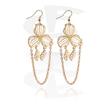 Kolczyki, Earrings, Surgical Steel 316L, Gold Plated Brass