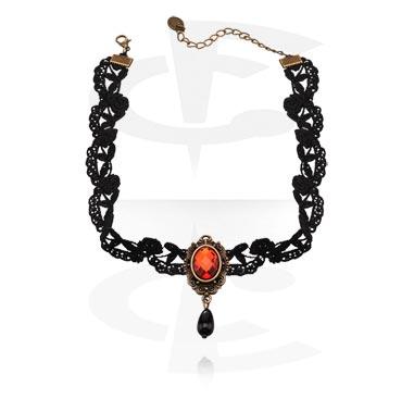 Naszyjniki, Vintage Necklace, Metal, Fabric