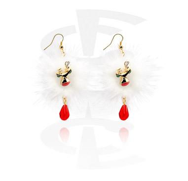 Kolczyki, Earrings z Christmas Design, Gold Plated Brass