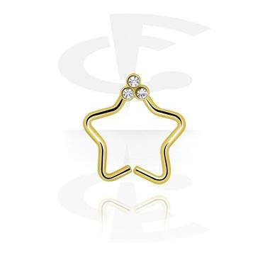Piercingové kroužky, Star-shaped Continuous Ring, Zircon Steel