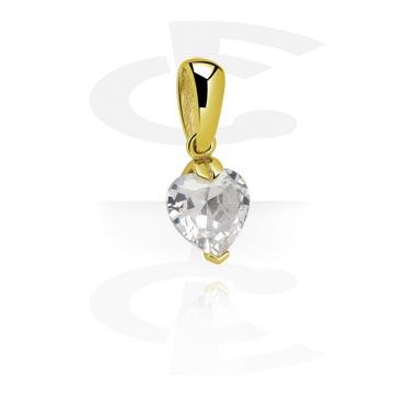 Pendants, Pendant with Crystal Heart, Zircon Steel